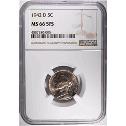 1942-D JEFFERSON NICKEL, NGC MS-66 FS KEY DATE