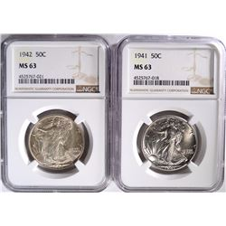 1941 & 42 WALKING LIBERTY HALF DOLLARS, NGC MS-63