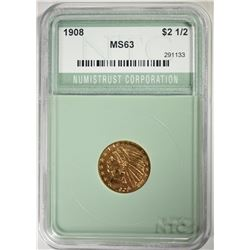 1908 $2.50 GOLD INDIAN NTC CHOICE BU