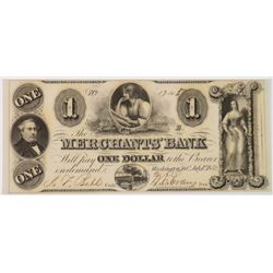 1852 1.00 NOTE FROM MERCHANT WASHINGON D.C.