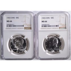2-1965 SMS KENNEDY HALF DOLLARS, NGC-MS 66