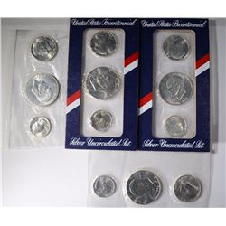 4 - 1976 3pc SILVER BU BICENTENNIAL SETS