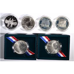 6 - COMMEM SILVER DOLLARS; 2 - KOREA BU,