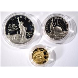1986 PROOF STATUE of LIBERTY 3pc SET