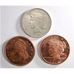 1922-D PEACE DOLLAR & 2 COPPER