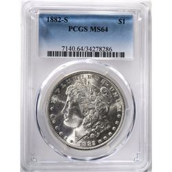 1882-S MORGAN DOLLAR PCGS MS64