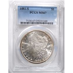 1881-S MORGAN DOLLAR PCGS MS67