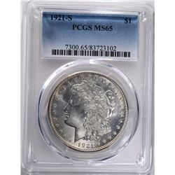 1921-S MORGAN DOLLAR PCGS MS65