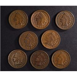 8 - INDIAN HEAD CENTS; 1891, 1892, 1893