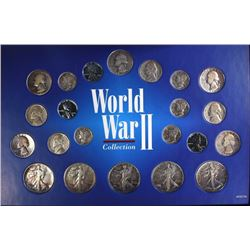 SILVER WWII COLLECTION - 22 COINS in DISPLAY