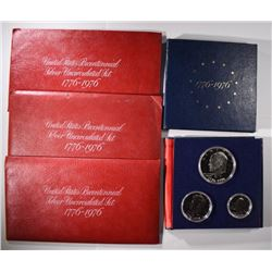 5 - 1976 3pc SILVER SETS; 3-UNC & 2-PROOF