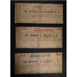 3- 50¢ NOTES FOR WESTERN & ATLANTIC RAILROAD