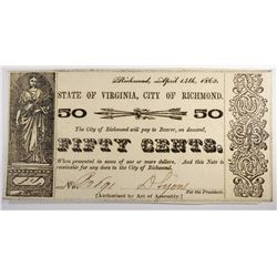 1862 50 CENT STATE OF VIRGINIA, CH CU