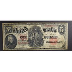 "1907 $5.00 U.S. NOTE ""WOODCHOPPER""  F/VF"