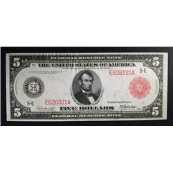 1914 $5.00 RED SEAL NOTE BEAUTIFUL AU/UNC RARE!