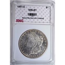 1887-S MORGAN SILVER DOLLAR, RNG  CHOICE BU