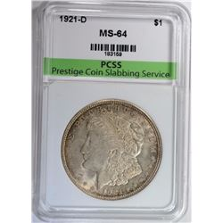 1921-D MORGAN SILVER DOLLAR PCSS CHOICE / GEM BU