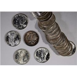 49-MIXED GEM BU + MERCURY DIMES AS FOLLOWS: