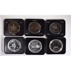(6) DIFFERENT CANADIAN 50% SILVER DOLLARS IN ORIGI