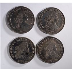 4-REPLICA BUST DOLLARS, 27 GRAMS 90% SILVER EACH