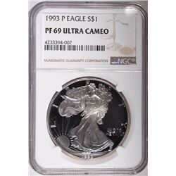1993-P AMERICAN SILVER EAGLE, NGC PF69 ULTRA CAMEO