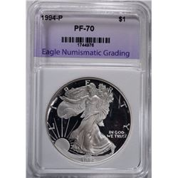 1994 AMERICAN SILVER EAGLE, ENG PERFECT GEM PROOF