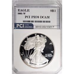 2005-W AMERICAN SILVER EAGLE, PCI PERFECT GEM PF