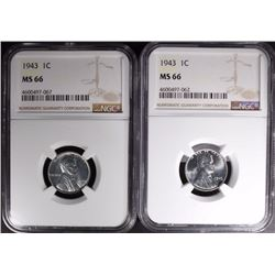 2-1943 LINCOLN STEEL CENTS, NGC MS66