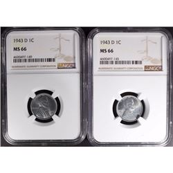 2-1943-D LINCOLN STEEL CENTS, NGC MS66