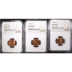 (2) 1958 & (1) 1958-D LINCOLN CENTS NGC MS66 RD