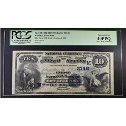 1882 DATE BACK $10 NATIONAL CURRENCY PCGS 40PPQ