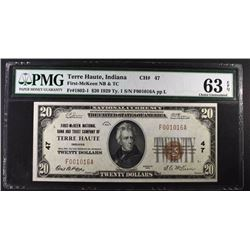 1929 $20 NATIONAL CURRENCY TY1 PMG 63EPQ