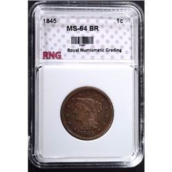 1845 LARGE CENT RNG CH BU BR