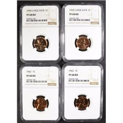 LOT OF 4 LINCOLN CENTS, ALL NGC PF-68 RD