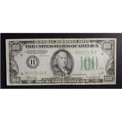 1934-A $100 FEDERAL RESERVE NOTE, F/VF