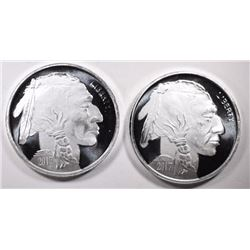 2-ONE OUNCE .999 SILVER BUFFALO/INDIAN ROUNDS