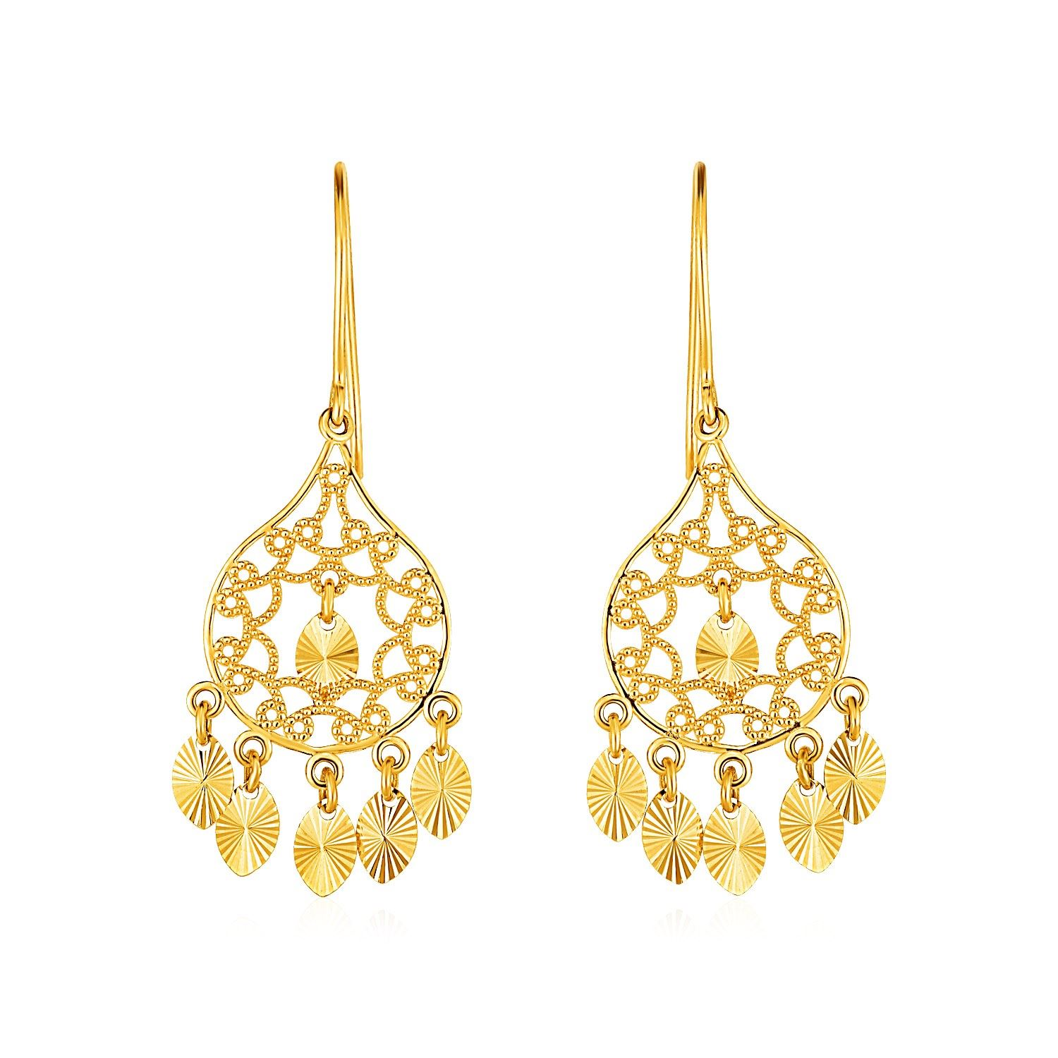 Textured rounded teardrop chandelier earrings in 14k yellow gold arubaitofo Gallery