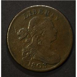 1803 DRAPED BUST LARGE CENT, VG+