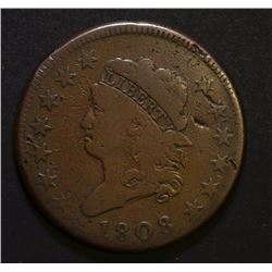 1808 CLASSIC HEAD LARGE CENT, VG BETTER DATE