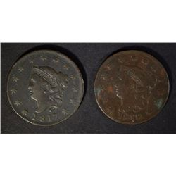 1817 F & 1818 VG LARGE CENTS