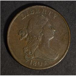 1805 DRAPED BUST HALF CENT, VF few scratches