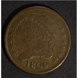 "1809 DRAPED BUST HALF CENT circle inside the ""0"" v"