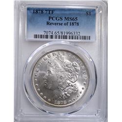 1878 7TF MORGAN DOLLAR REV. OF 1878  PCGS MS65