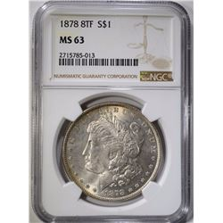 1878 8TF MORGAN DOLLAR NGC MS 63