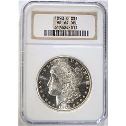 1898-O MORGAN DOLLAR NGC MS 64 DPL