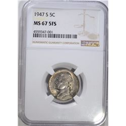 1947-S JEFFERSON NICKEL NGC MS 67 5FS