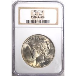 1922 PEACE SILVER DOLLAR NGC MS 64
