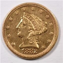 1882 $2.5 GOLD LIBERTY BU CLEANED.  4000 MINTED