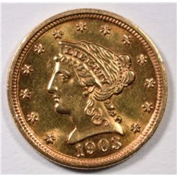1903 $2.5 GOLD LIBERTY GEM BU, SMALL RIM BUMP REV.