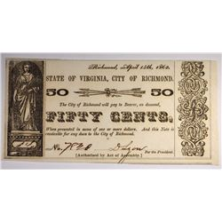 1862 50- CENT STATE OF VIRGINIA NOTE